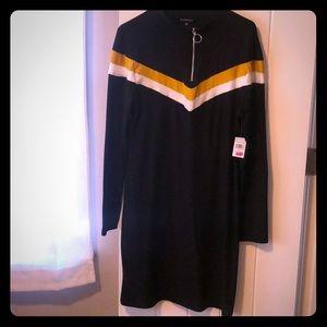 Rainbow Plus size Black Long sleeve mini dress
